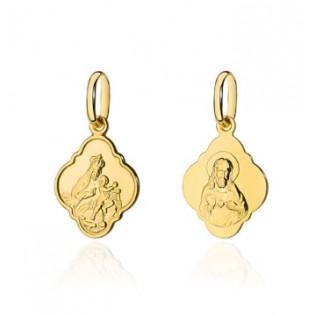 Medalik złoty Szkaplerz z łańcuszkiem - zestaw złoty wysokiej próby 585