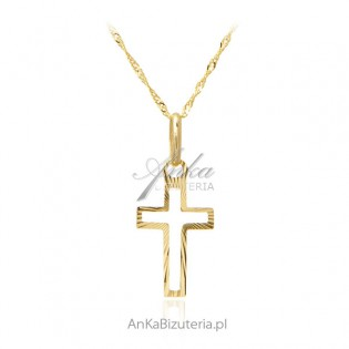 Złoty krzyżyk diamentowany z łańcuszkiem - złoto próba 585
