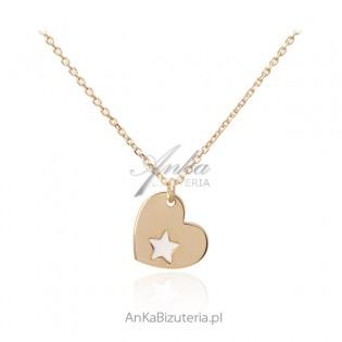 Naszyjnik srebrny pozłacany z serduszkiem i białą gwiazdką