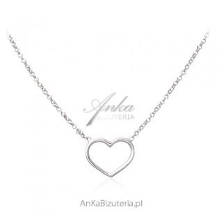 Naszyjnik srebrny SERCE - Biżuteria na prezent dla ukochanej