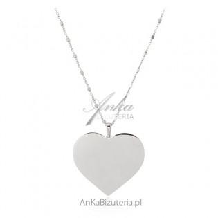 Naszyjnik srebrny długi z dużym sercem