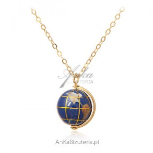 GLOBUS - naszyjnik srebrny pozłacany z lapis lazuli