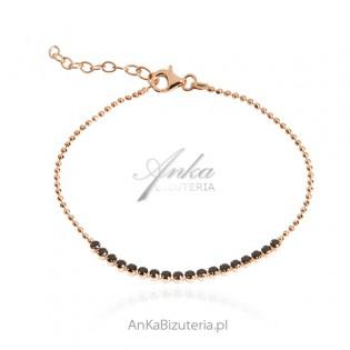 Srebrna bransoletka pozłacana różowym złotem z czarnymi cyrkoniami