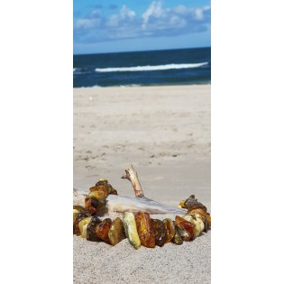 Korale z naturalnym bursztynem bałtyckim koniak, zielony oraz rzadki biały bursztyn