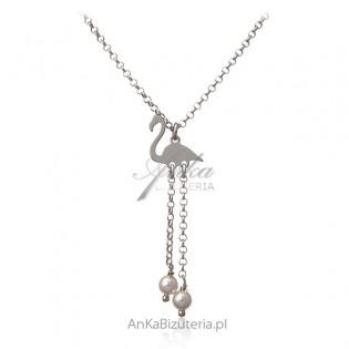 Naszyjnik srebrny FLAMING z perełkami
