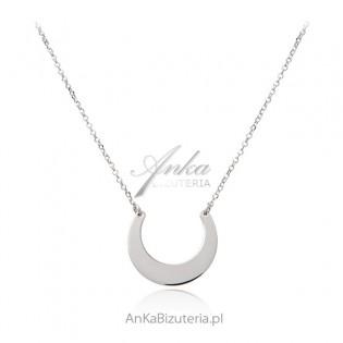Piękny naszyjnik srebrny PÓŁKSIĘŻYC