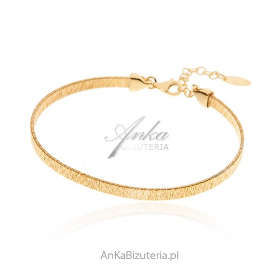 Srebrna bransoletka satynowana i pozłacana 14 k złotem