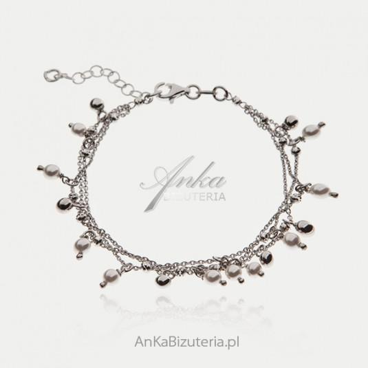 Bransoletka srebrna z kuleczkami i perełkami