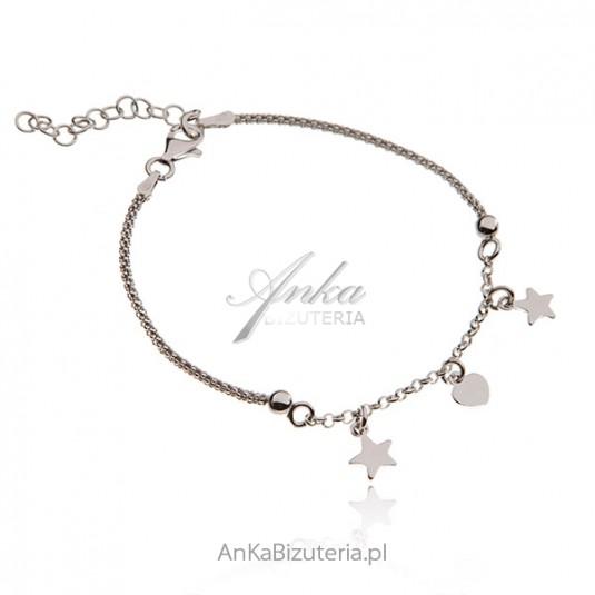 Srebrna bransoletka rodowana z gwiazdkami