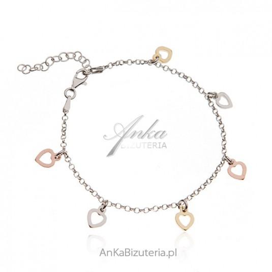 Bransoletka srebrna z serduszkami w trzech kolorach złota