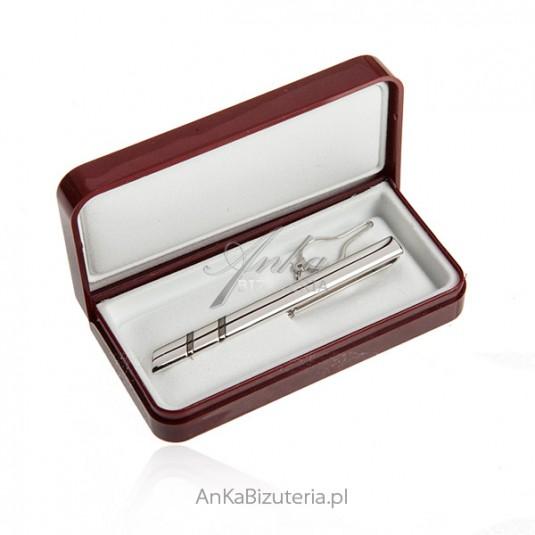 Spinka srebrna do krawata oksydowana