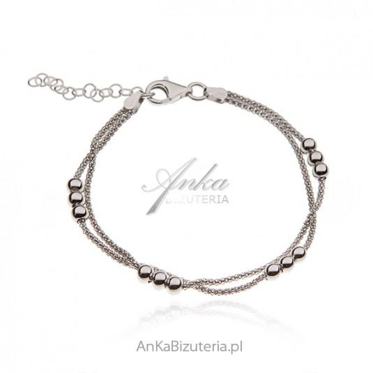 Bransoletka srebrna z kuleczkami