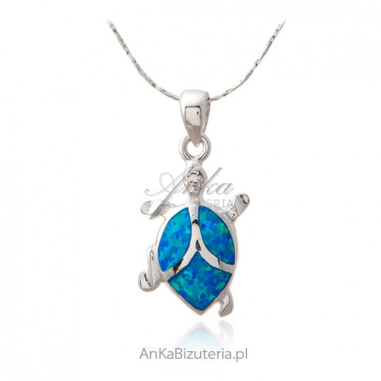 Srebrna zawieszka z niebieskim opalem żółw