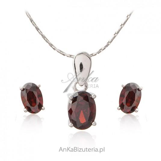 Biżuteria srebrna Komplet z cyrkonią jak czerwone wino