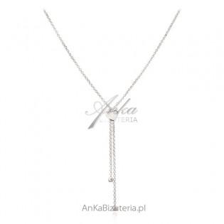 Naszyjnik srebrny delikatne serduszko - krawat