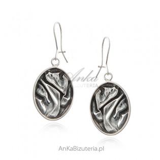 Srebrne kolczyki owalne - MARSZCZONE - autorska biżuteria