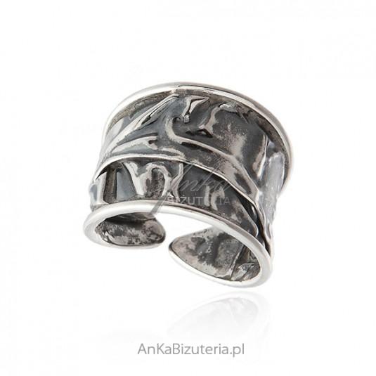Srebrny pierścionek oksydowany - Oryginalny ręcznie robiony - rozm 16-22