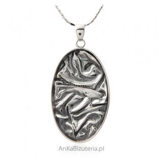 Duża zawieszka srebrna oksydowana - autorska biżuteria