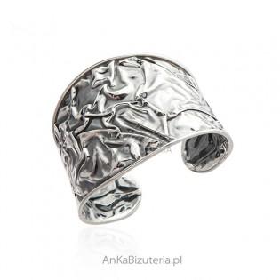 Szeroka bransoletka srebrna oksydowana MARSZCZONA - biżuteria autorska