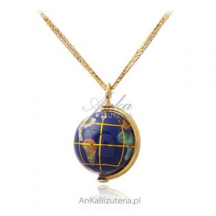 Piękny naszyjnik srebrny pozłacany GLOBUS z lapis lazuli