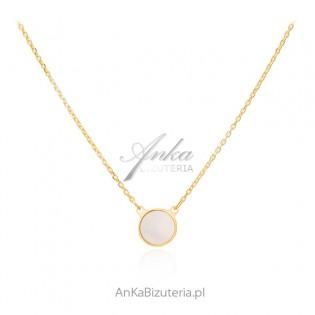 Naszyjnik srebrny pozłacany KÓŁKO z masą perłową
