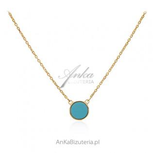 Naszyjnik srebrny pozłacany z turkusową masą perłową