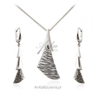 Biżuteria srebrna oksydowana - Komlet CHOINKA