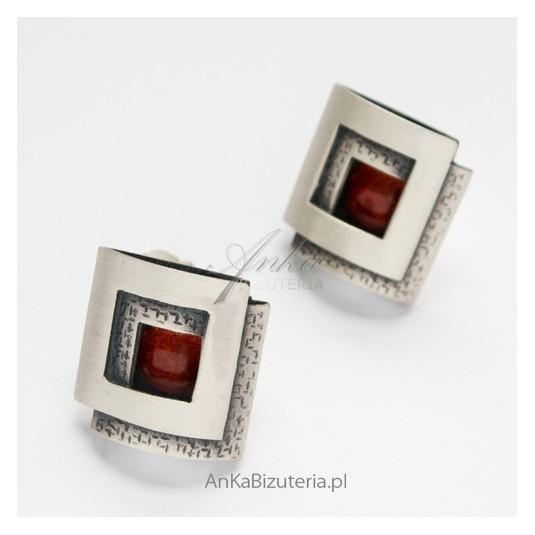 Klasyczna Biżuteria Srebrne kolczyki z KORALEM