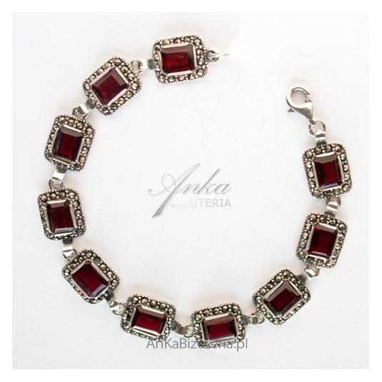 Oryginalna Biżuteria-Bransoletka srebrna z granatami i markazytami
