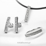 Silberschmuckset: Ring, Ohrringe, Anhänger