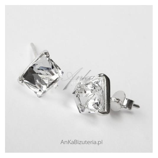 Srebrne kolczyki z Kryształem Górskim kwadraciki