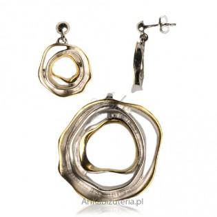 Niezwykły komplet srebrny - biżuteria artystyczna.