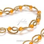 Halskette mit Kristallen SVAROWSKI-Orange mit Besatz