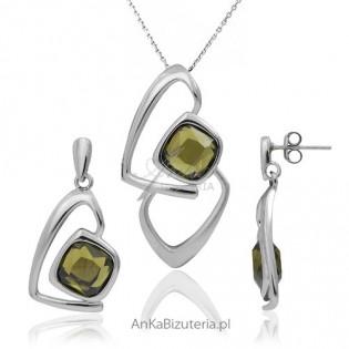Komplet srebrny rodowany z piękna oliwkową cyrkonia